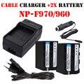 UE/EE.UU. cargador cable + 2x batería NP-F970 NP-F960 NPF960 F970 NP baterías + cargador para sony np-f550 np f750 f960 f970 f770 f930