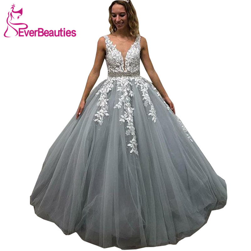 Robe De Soiree   Evening     Dresses   Long V-Neck Tulle Appliques Beaded   Dress   For Party Abendkleider 2019 Long   Dresses     Evening
