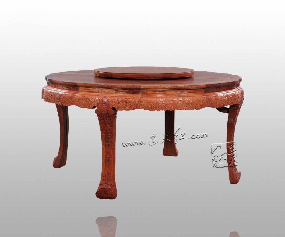 2.1*0.8M Big Round Table Annatto Solid Wood Dinging Room Furniture Rosewood Chinese Classical Antique restaurant 10 person desk