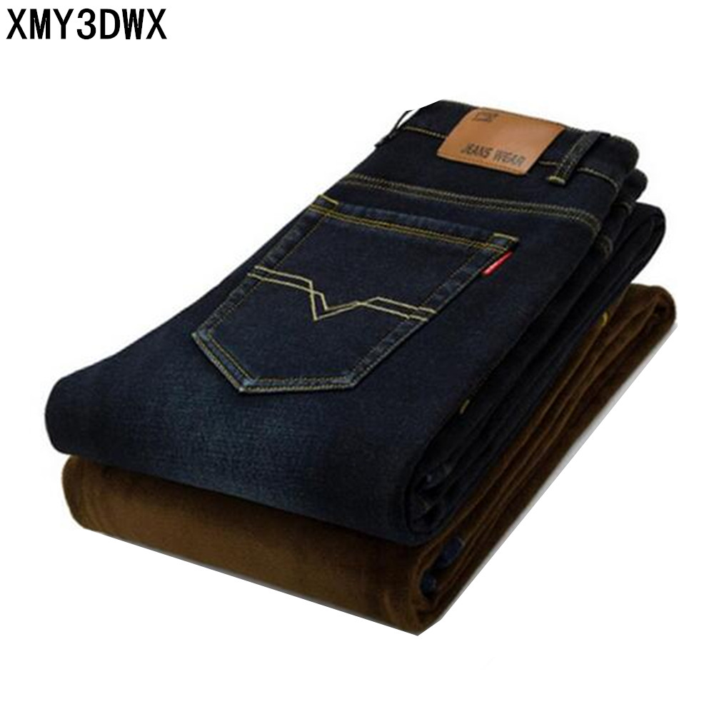 цены  New 2017 winter male Brand Warm jeans Fashion Slim comfortable denim trousers thickening Business casual Men's pants feet