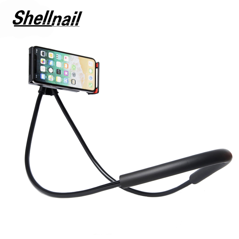 SHELLNAIL Lazy Neck Phone Holder Stand For IPhone Universal Cell Phone Desk Mount Bracket Flexible Bed Desk Table Clip Holders