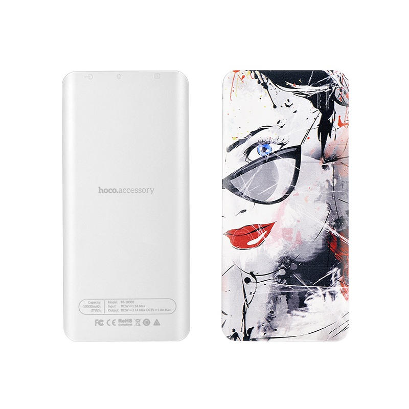 HOCO B1 Power Bank Color Printed 10000mAh Dual Port USB Power Bank <font><b>for</b></font> iPhone iPad <font><b>Samsung</b></font> <font><b>Sony</b></font> Huawei - Girl Wearing <font><b>Glasses</b></font>