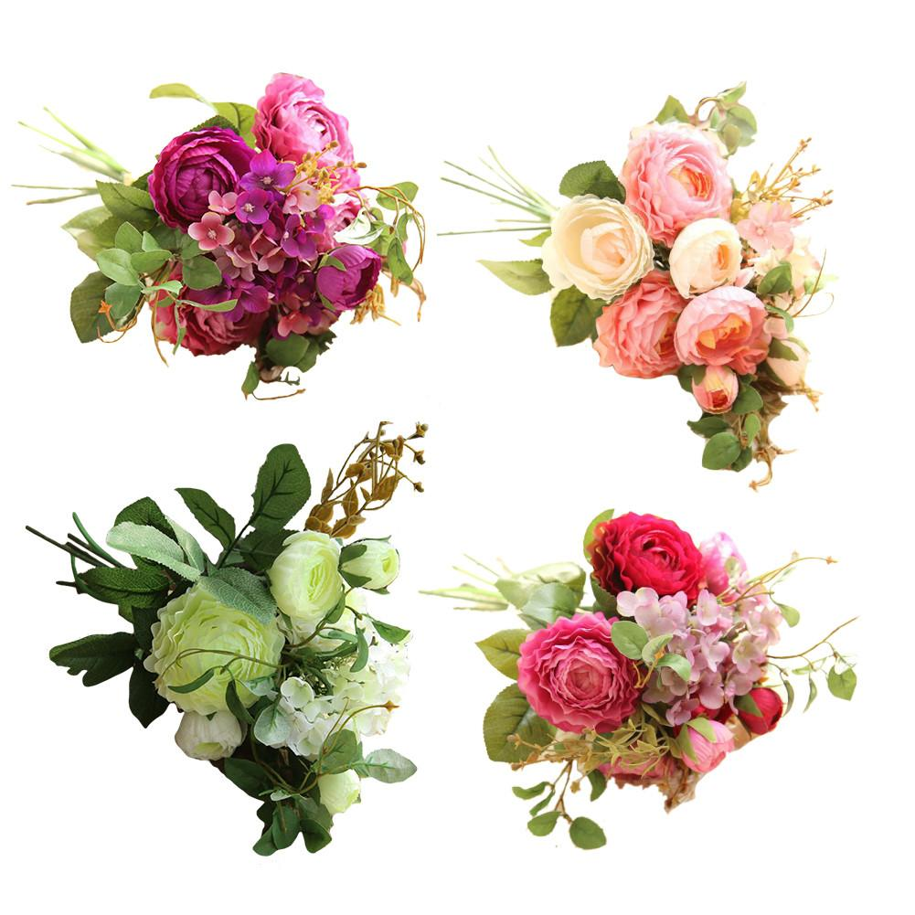 Artificial Flowers Bouquet Fake Hydrangea For Home Wedding Decoration Plants Bridal Bouquets