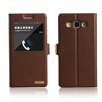 Window Smart Cover Case For Samsung Galaxy A5 A500 A5000 A5009 Genuine Leather Magnet Flip Stand