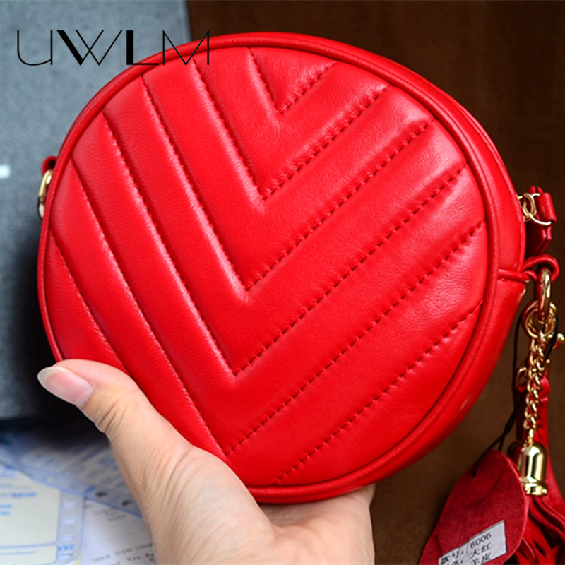все цены на Women Messenger Bags Sheep Skin Genuine Leather Crossbody Bags Small Circular Wavy Chain Shoulder Bags Handbags Famous Brand New онлайн