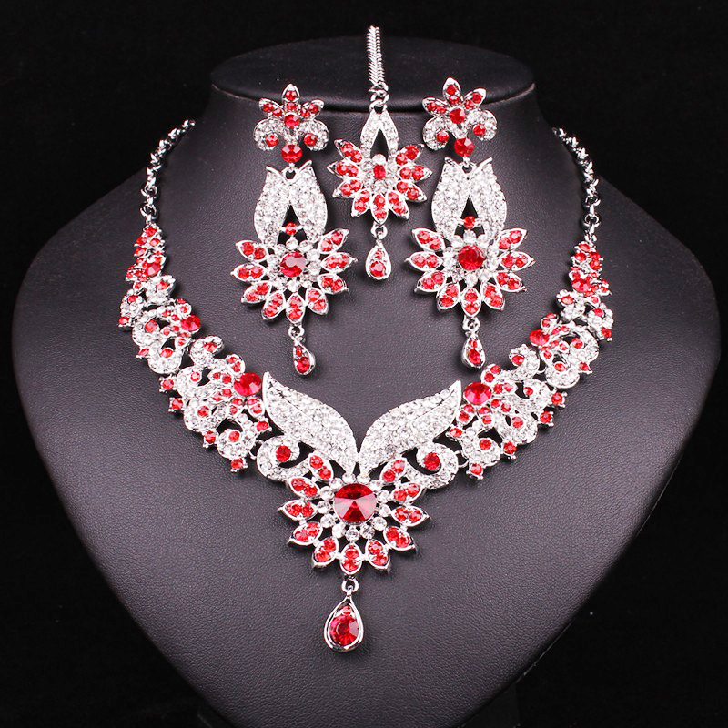 Fashion Indian Style Crystal Rhinestones Necklace Earrings Set Silver Plated Bridal Jewelry Sets Jewellery Christmas Gift Women 2016 cross shape rhinestone hollow out silver plated jewellery sets stylish indian wholesale fashionable jewellery sets