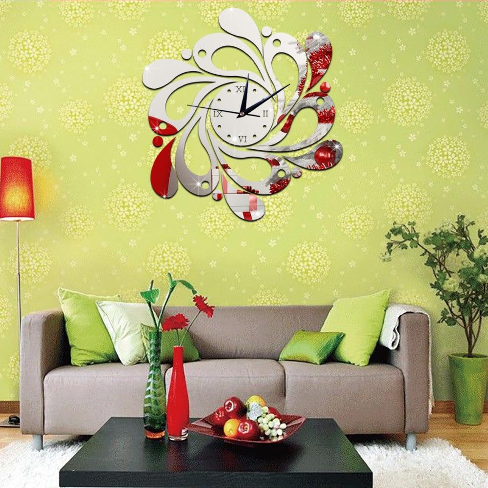 Creative DIY flowers silent wall clock acrylic mirror wall stickers ...
