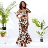 Shenbolen African Dresses For Women Summer New Fashion One Shoulder Ankara Wax Printing Fashion Dashiki Party Dress