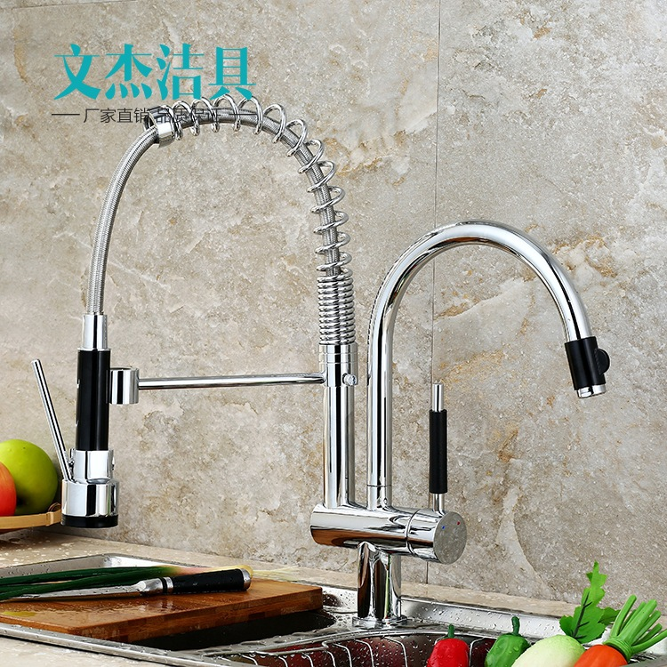 Kitchen faucet manufacturers wholesale foreign trade kitchen faucet hot and cold mixing faucet spring-type pull