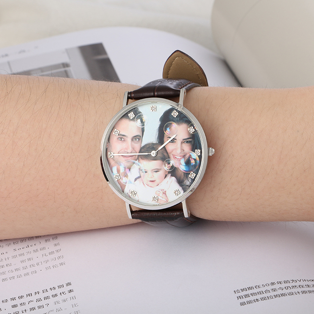 YAZI Personalized Custom Photo Watch Zircon Scale Wrist Watch for Men And Women Stainless Steel Case Quartz Watches Waterproof