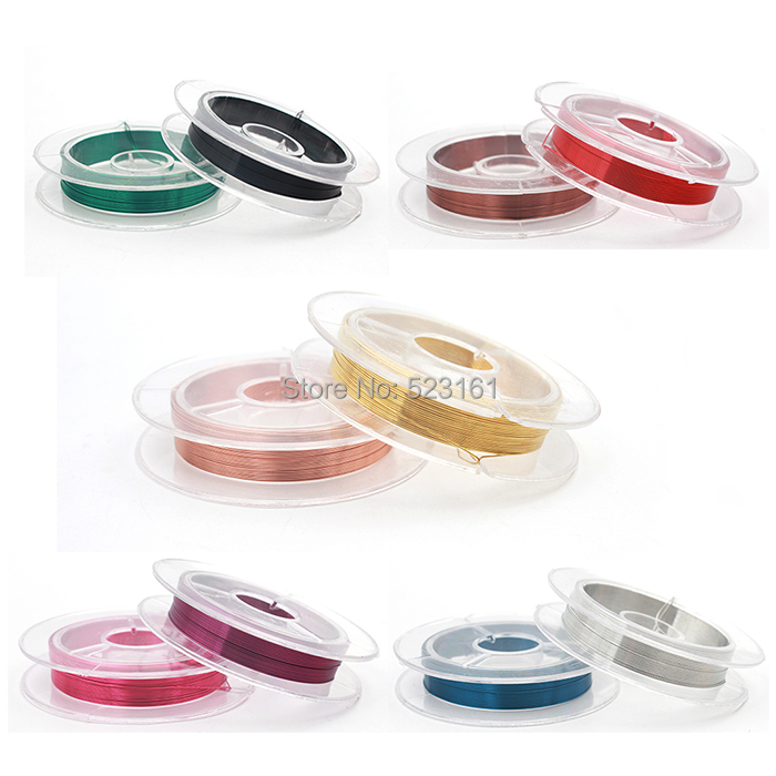 Hot Diy 0.3mm Colored Enameled Copper Wire Spool(10m*10)for Jewelry Supplies 28 gauge Dead Soft Beading Wire Findings Components