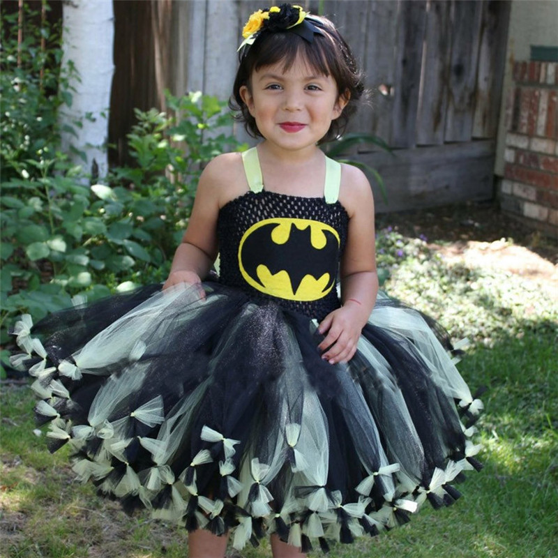 Moeble Girls Knotted Batman Tutu Dress Superhero Children Cosplay Costume Christmas Halloween Kids Party Dresses Xmas Gift newest girls princess tutu dress cosplay elsa dress christmas halloween costume for kids performance birthday dresses vestidos