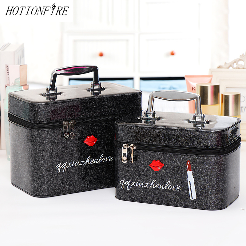Women Professional Cosmetic Bag Portable Large Capacity Suitcase Beauty Storage Box Cosmetic Case Waterproof Lovely MakeUp Bag