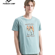 a6946ae2f Pioneer Camp Short Sleeve T Shirts Men Penguin Printed Animal 100% Cotton T  Shirt Summer