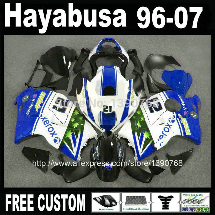 7 free gifts Plastic fairings set for hayabusa suzuki GSXR1300 1996-2007 blue black white  fairing kit GSX1300R 96-07 FB54