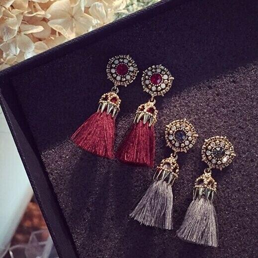 8dd323dde9d6 2016 moda vintage Pendientes para las mujeres joyería brillante ladrillo  Pendientes flor antiguo borla larga Pendientes de gota cuelgan brincos