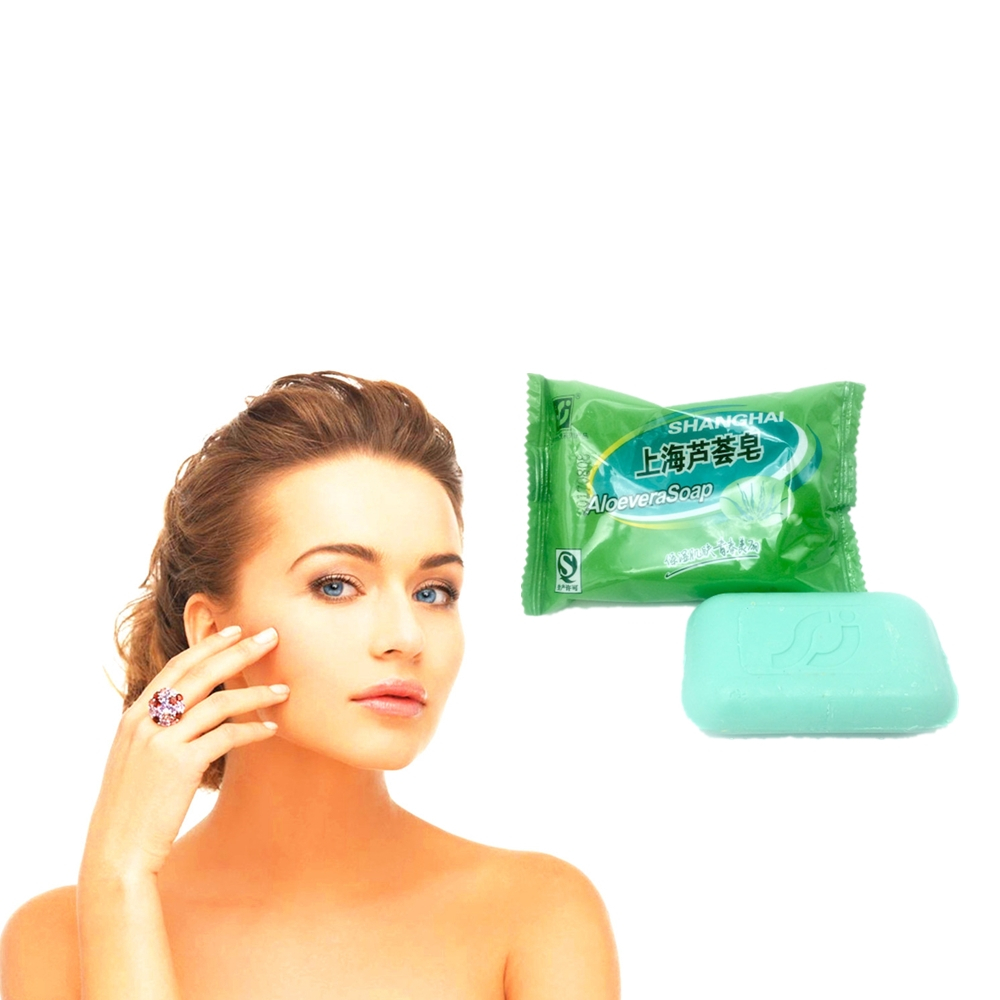 Super Good ALOEVERA Soap Face & Body Clear Anti Bacterial Lighten Freckles Beauty & Health Care Whitening Soap