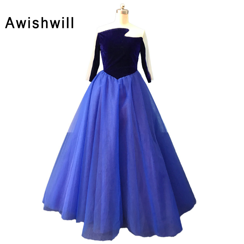 New Arrival Blue Prom Dress Ball Gown With 3/4 Sleeves Velvet and ...