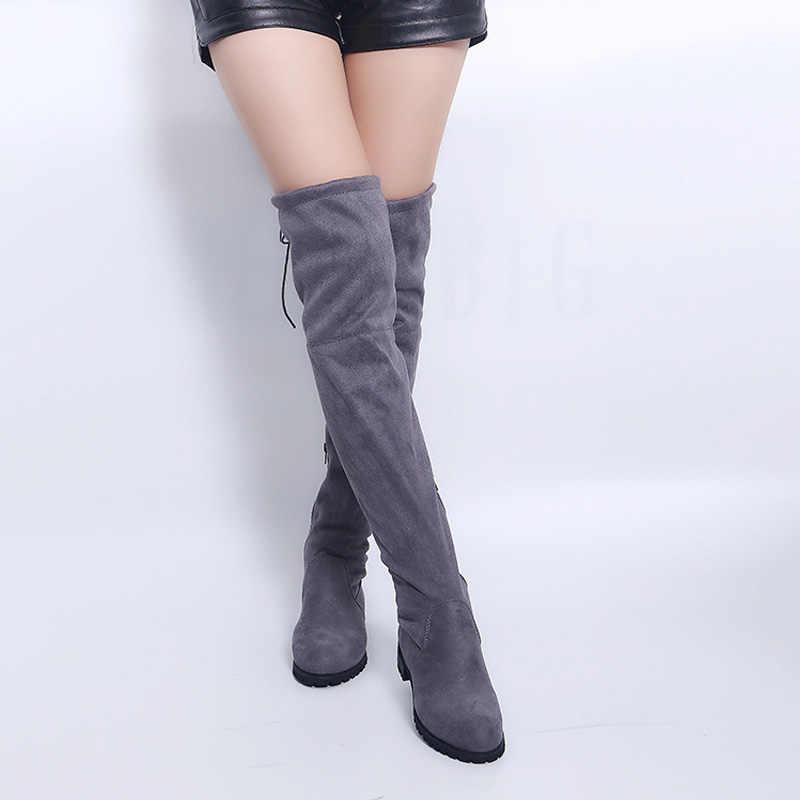 เซ็กซี่เข่าบู๊ทส์สตรีฤดูหนาวหญิงรองเท้าผู้หญิงรองเท้าหนังนิ่ม Bota ผู้หญิงรองเท้าแฟชั่นต้นขารองเท้าบูทสูง PLUS ขนาด 43