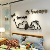 Diy мультфильм собака зеркало 3D настенные наклейки для украшения комнаты для детей комнаты декор гостиной ТВ задний план стены Искусство дом...