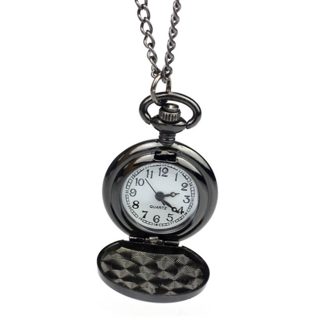 #5001Fashion Vintage Black Roman-Numerals Stainless Steel Quartz Pocket Watch DR