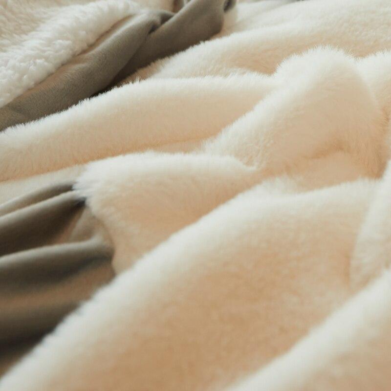 White Pink Gray Fleece Fabric Korean Princess Style Bedding Set Berber Fleece Flannel Velvet Duvet Cover Bed Skirt Pillowcases in Bedding Sets from Home Garden
