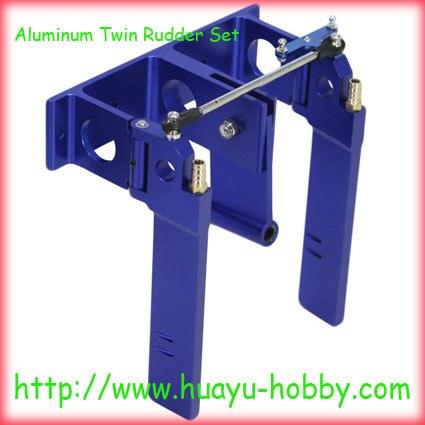 Ensemble de gouvernail double en aluminium-pièce de rechange de bateau RC bleu global 62102-1B