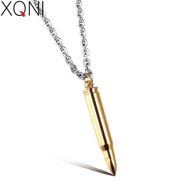 XQNI Birthday Gift Cool Man's Bullet Pendant Necklaces New Fashion Punk  Style Stainless Steel Personality Men's Jewelry 3 Colors