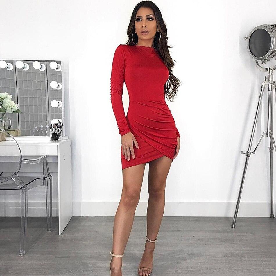 d4cd52e0423f New Commercio Estate Manica Clubwear Solido Mini Red All ingrosso Lunga O  2019 Famoso Notte Abiti Sexy Vestito Di ...