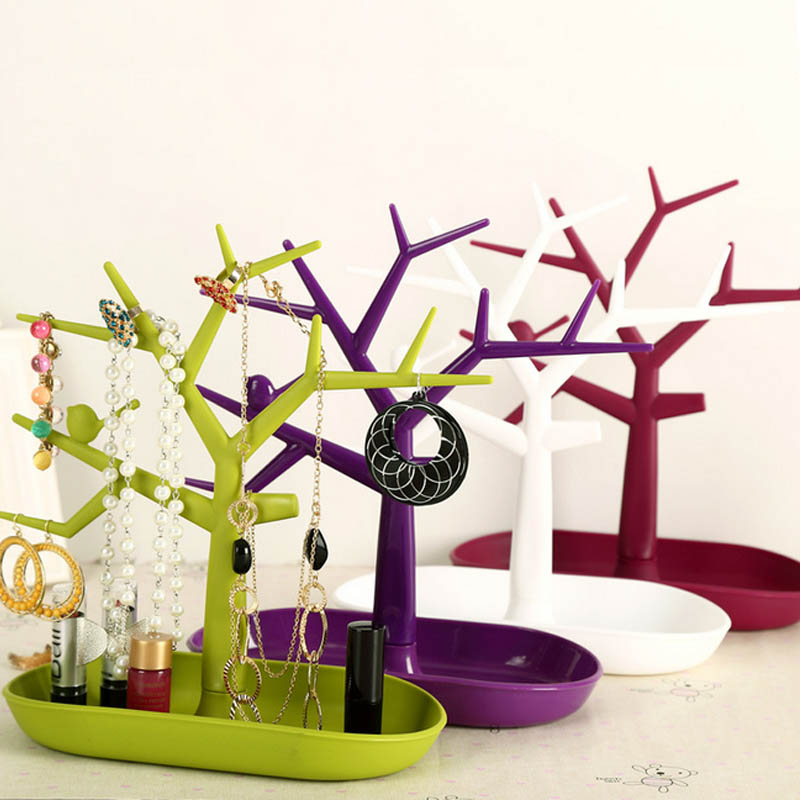 Display Jewllery Organizer Show Rack Jewelry Necklace Ring Earring Plastic Tree Stand Necklace Organizer Jewelry Earings Holder