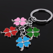 suti stainless steel clover keychain fashion four leaf clover keyring key chain key ring holder bag pendant charms
