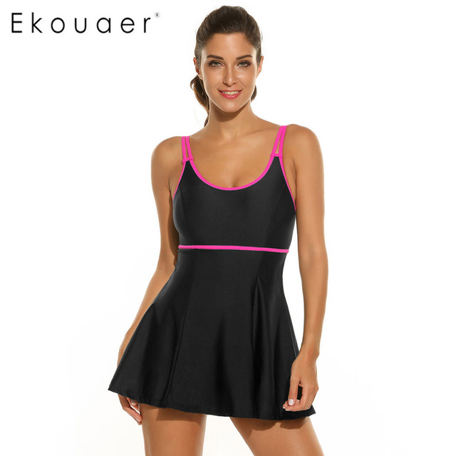 eda0bfbc3f830 Ekouaer Women One Piece Swimsuit New Sexy Swimwear Women Vintage Retro  Bathing Suits Monokini Swimsuit Beachwear XXL 2 Colors