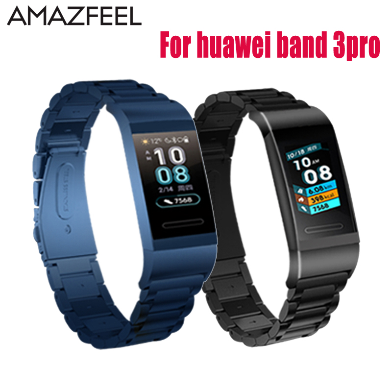 Amazfeel Wrist Strap Accessories For Huawei Band 3pro Strap Bracelet Metal Stainless Steel Watch Strap Wristband Band 3 Pro Belt