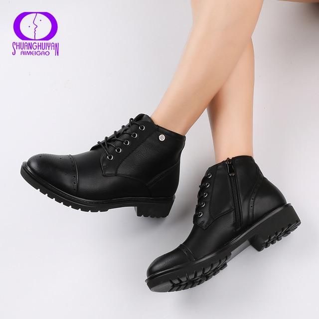 Aimeigao модные Женские полусапожки в винтажном стиле Обувь из мягкой кожи на плоской подошве Удобные Для женщин Сапоги и ботинки для девочек Кружево из мягкой кожи на шнуровке классические Обувь