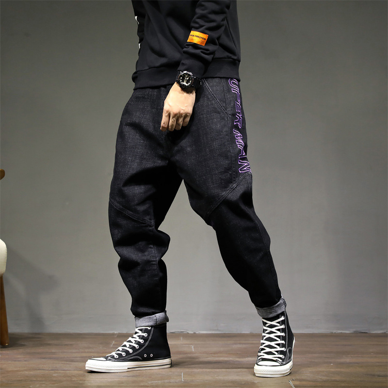 Fashion Streetwear Men Jeans Vintage Black Color Loose Fit Harem Trousers Tapered Pants Hombre Embroidery Design Hip Hop Jeans