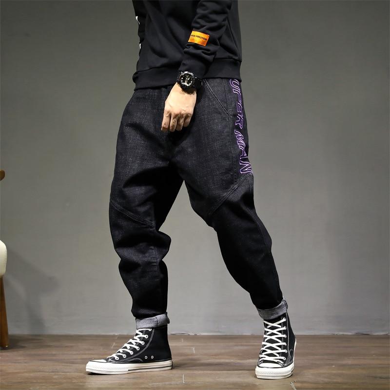 Fashion Streetwear Men   Jeans   Vintage Black Color Loose Fit Harem Trousers Tapered Pants hombre Embroidery Design Hip Hop   Jeans