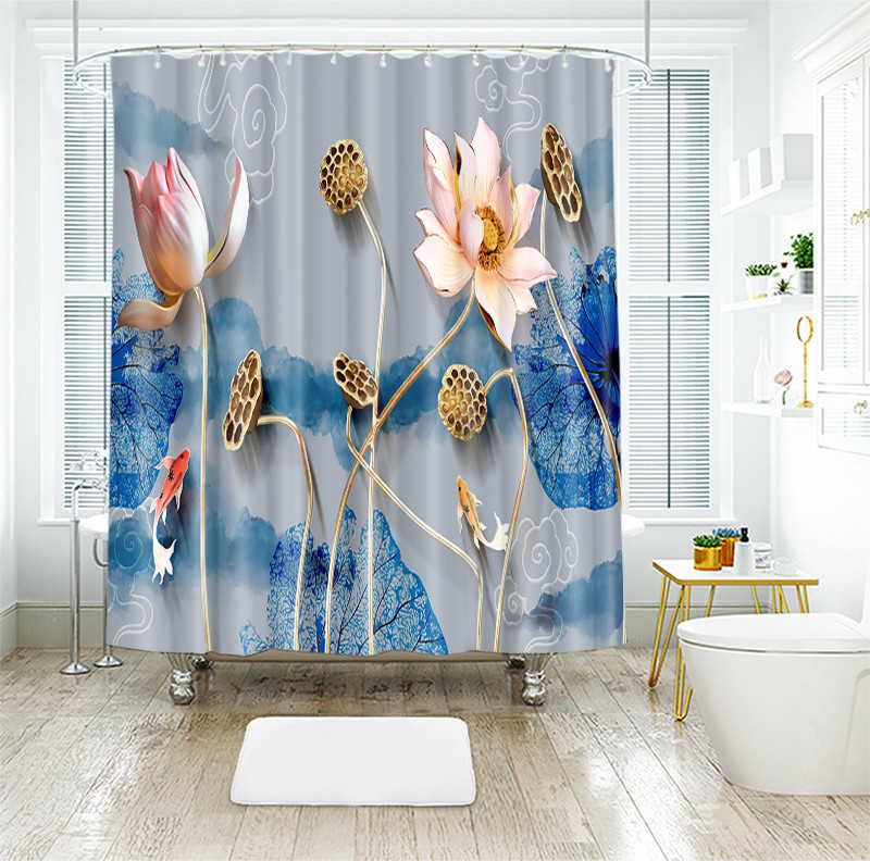 3d Lotus Leaf Blue and White Porcelain Style Shower Curtains Bathroom Curtain Thicken Waterproof Thickened Bath Curtain