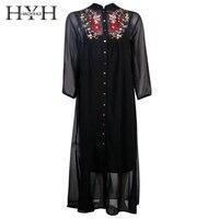 HYH HAOYIHUI Vestido נשי שמלת חולצה רופף שחור פרחוני רקמת בגדי נשים שמלת Boho שיק בציר בסיסי מזדמן