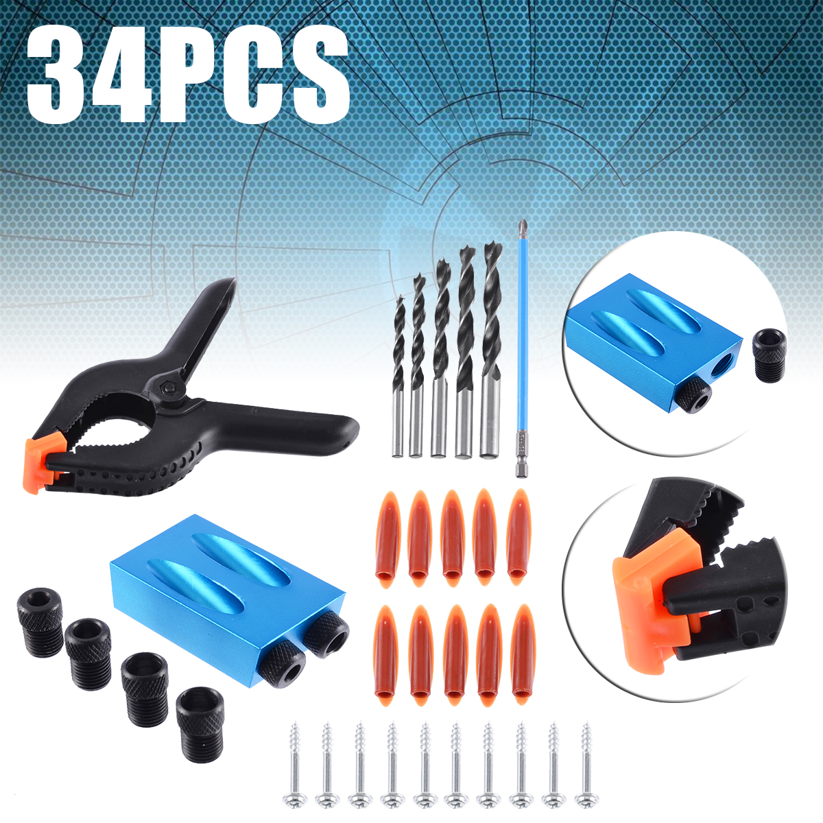 34pcs/set 6-10mm Drill Bit Set for Pocket Hole Jig Woodworking Clamps Pocket Screws PH2 150mm Magnetic Screwdriver Tool