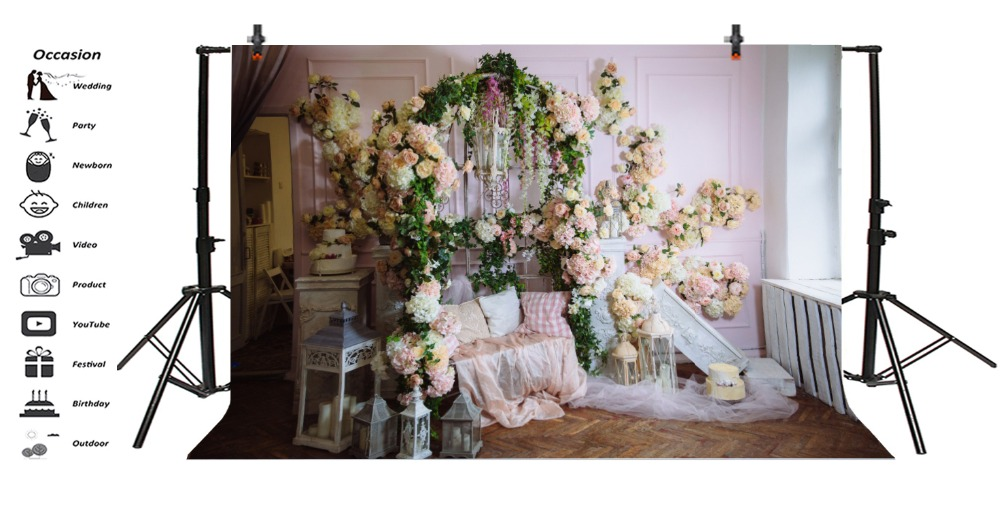 Laeacco Boudoir Flowers Bench Curtain Lamp Baby Girl Photography Backgrounds Customized Photographic Backdrops For Photo Studio in Background from Consumer Electronics