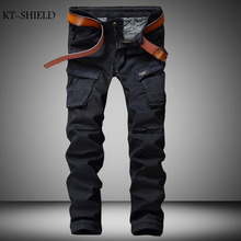 Fashion Mens Biker Jeans Pants Multi Pockets Slim Fit Pleated Motorcycle Denim Joggers Male Brand Designer