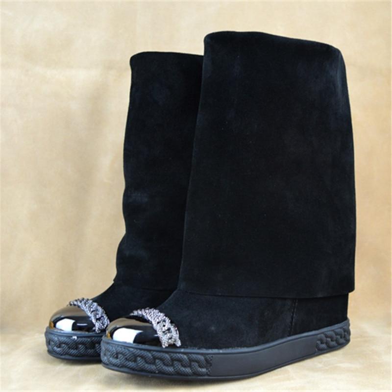 Bottes Wedge Rond Caché Mode Chaussons Femmes Bout Piste As Talons Dames En Mi Chaîne Suede Or Offre Spéciale De Métal mollet Pic Chaussures as Pic qHY884