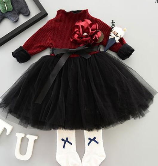 Baby girls knitting and wool long sleeved dress princess splicing tutu dress