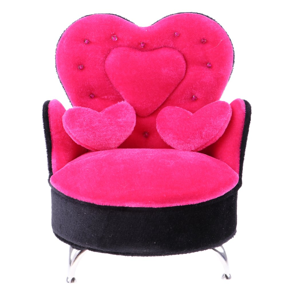 1/6 Dollhouse Furniture Wooden Velvet Single Sofa Chair Miniature Doll House Accessories Toys Birthday Gift for Children Kids