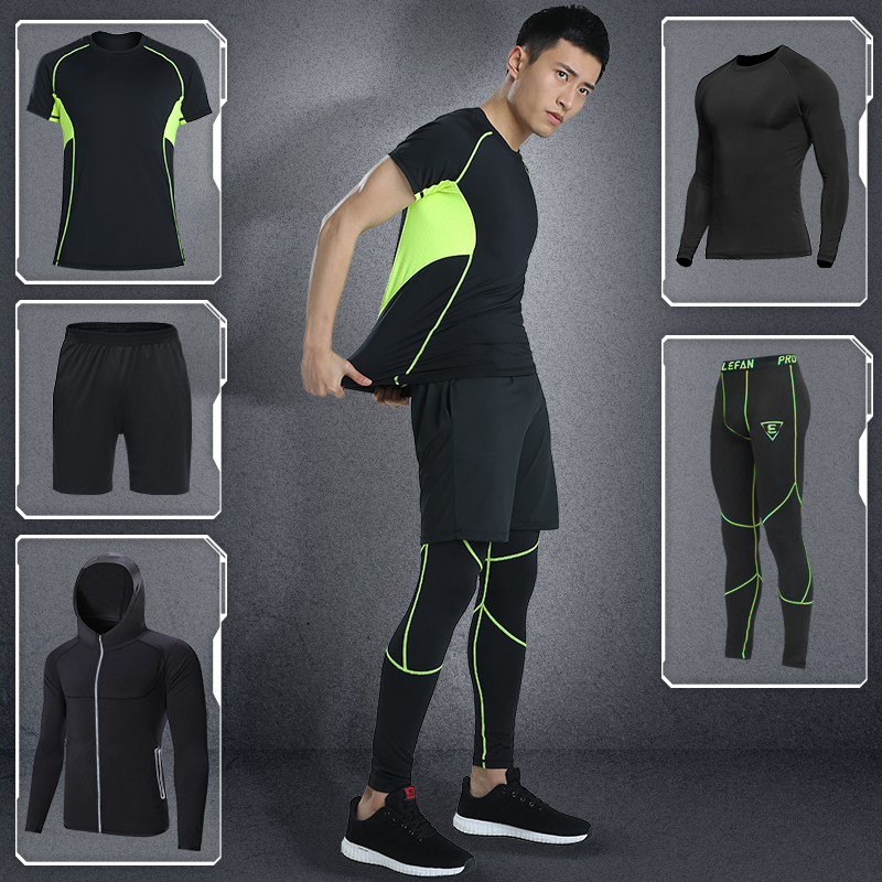 5pcs Men Quick-dry Fitness Sportswear Bodybuilding Gym Sets Training Running Tracksuits Sport Suits lefan 2018 sport suits 3pcs men elastic running fitness sets male training sportswear clothes set gym tracksuits tight leggings