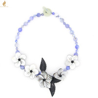 Blue Color gems ,Shell Flowers and gems leaves with gems Toggle Clasp Necklace Free Shipping
