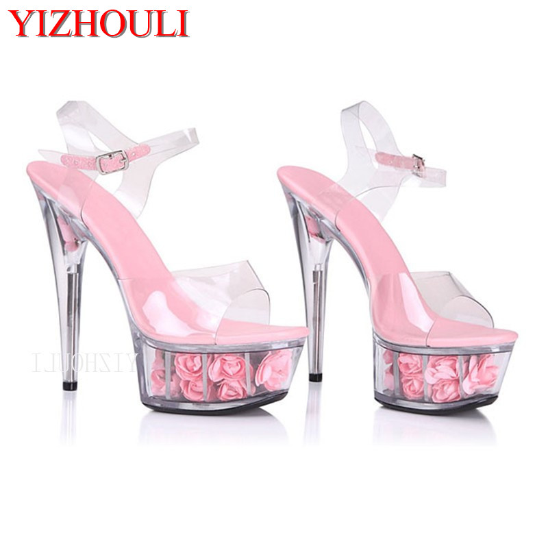 Summer weddings, new fashion sexy heels and pink rose decorative platform women's shoes, with a 15-centimeter high heel sandals in summer the new high heels and silver sequined women s shoes match the 15 centimeter high heels and sandals
