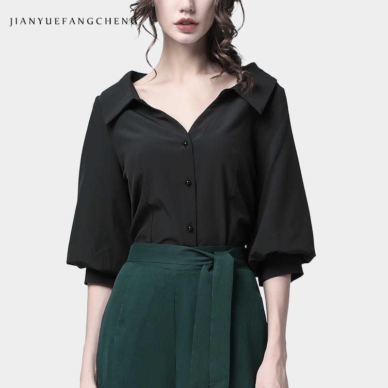 Женская рубашка с буфами на рукавах из лайкры, офисная одежда с квадратным вырезом, рубашки, новинка 2019, летние женские стильные модные топы и блузки