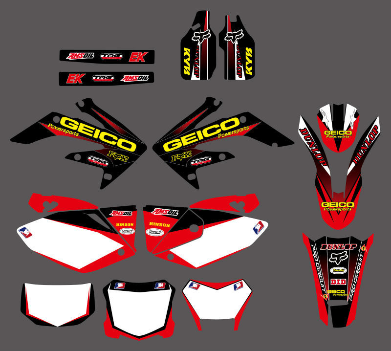 0034 New TEAM GRAPHIC BACKGROUND DECAL STICKERS For Honda CRF250X CRF 250X 4 STROKES 2004 2012