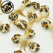 50Pcs/lot leopard design Pet Cat Toys Mini Playing with Feather Mouse